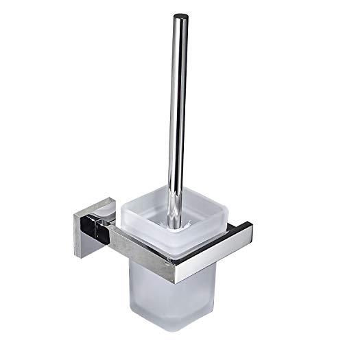WC-Bürste und Halter Wand Bürstenhalter, Chrom, WC-Garnitur Toilettenbürstengarnitur aus 304 Edelstahl und Mattglas für Badezimmer