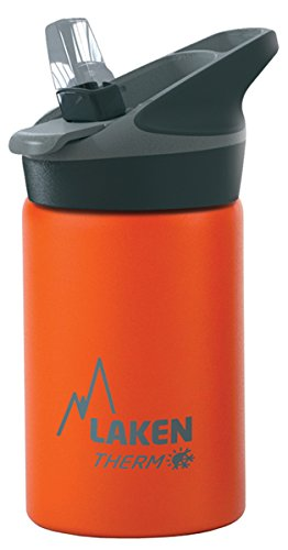 Laken Thermo Kids Vacuum Insulated Stainless Steel Leak Free Sports Water Bottle with Jannu Straw Cap, 17 oz, Orange