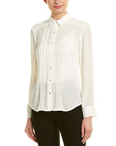 Nanette Nanette Lepore Damen Ls Buttondown Shirt W/Pintucs Button Down Hemd, Cannoli-Creme, X-Groß