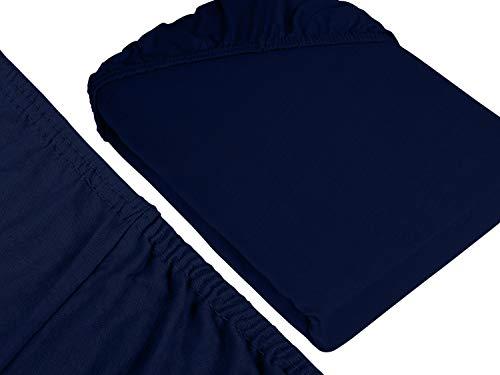 npluseins klassisches Jersey Spannbetttuch – erhältlich in 34 modernen Farben und 6 verschiedenen Größen – 100% Baumwolle, 70 x 140 cm, navyblau - 3