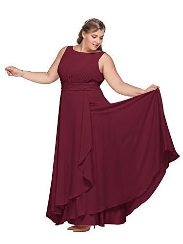 AW BRIDAL Chiffon Sleeveless Burgundy Bridesmaid Dresses Long Formal Prom Maxi Evening Party Dresses for Women, US10
