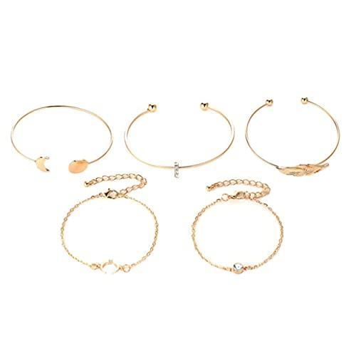 Adjustable Bracelet Vintage Bracelet Fashion Bracelet Bracelets Set Alloy Leaf Moon Open Cuff Stackable Bangle Bracelet for Women 5PCS
