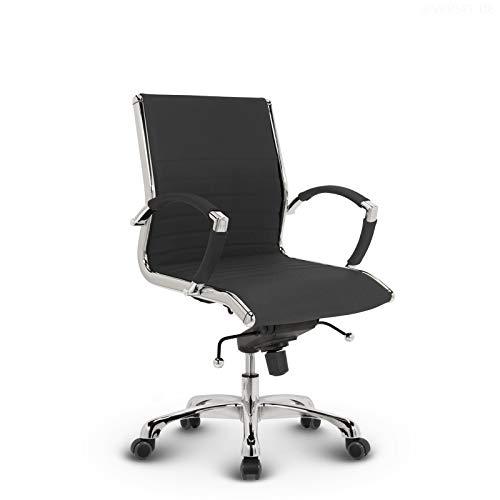 VERSEE Design Bürostuhl Montreal - Stoff - anthrazit - Konferenzstuhl, Meetingstuhl, Drehstuhl, Bürodrehstuhl, Schreibtischstuhl, Designklassiker, hochwertige Verarbeitung, Stuhl, 150 kg belastbarkeit