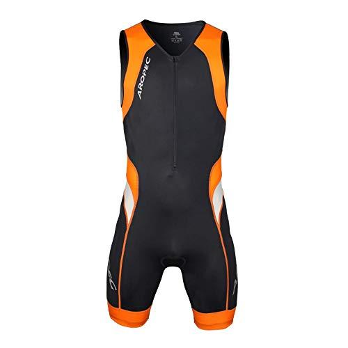Aropec Lime–Mono Deportivo de Hombre–Traje de triatlón Lion Lycra, Traje, Hombre, Color Negro/Naranja, tamaño Small