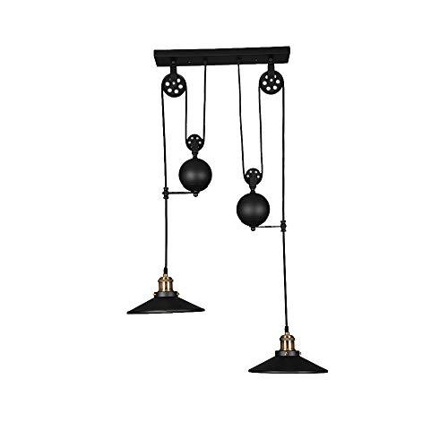 American Country Style Pulley droplight lámparas de hilo orientables en suspensión de hierro viejo Retro A Techo (2cabezas)
