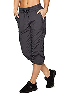 RBX Active Women's Lightweight Body Skimming Drawstring Woven Capri Pant , Charcoal Grey,MEDIUM