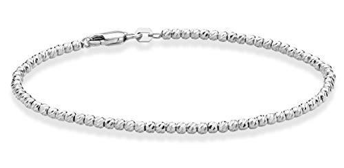 Miabella 925 Sterling Silver Diamond-Cut 2.5mm Bead Ball Chain Bracelet for Women Teen Girls 6.5, 7, 8 Inch Choice of 18K Gold Plated or Silver (7, sterling-silver)