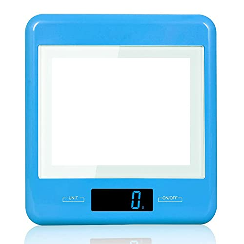 U-A Escala de Cocina Digital con Pantalla LCD Grande y Color Digit Opcional, 1g-5kg / 11lb Protección Ambiental ABS báscula electrónica de plástico (Azul)
