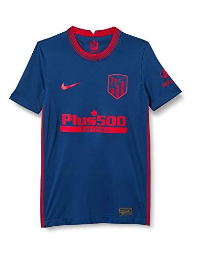 NIKE ATM Y NK BRT Stad JSY SS AW T-Shirt, Unisex niños, Coastal Blue/Sport Red Full Sponsor, M