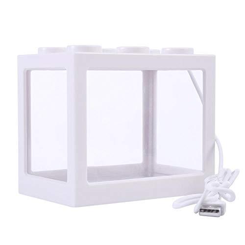 Perfuw Mini-Aquarium-Set mit Bausteinen, USB-Anschluss, ideal für Büro, Wohnzimmer, Couchtisch, Tischdekoration weiß