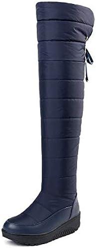 HOESCZS HOESCZS 2019 Bottes pour Femmes Au-Dessus du Genou Bottes Garder Au Chaud PU en Cuir Sonw Bottes Noir Chaussures d'hiver Femmes Bottes Taille 35-44  Découvrez le moins cher