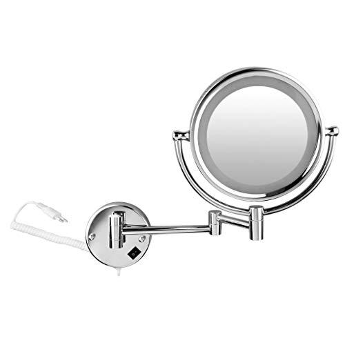ZXF Espejo Maquillaje 8,5 Pulgadas de la Pared del LED LED magnífico Espejo de Aumento Espejo de Aumento Espejos 5/7 / 10x Zoom Espejos (5X) Maquillaje de Plata Herramienta