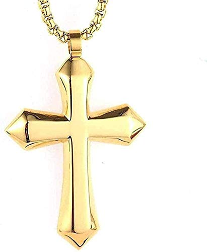 ZGYFJCH Co.,ltd Collar Mujer Collar Collar de Acero Inoxidable Joyas Collar de Hombre Moda Simple Cruz Grande Collar con Colgante de Acero de Titanio Oro-Oro Regalo para Mujeres Hombres Regalos