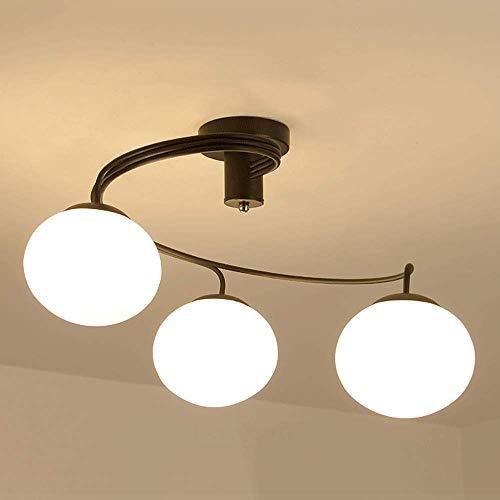 NZDY Lámparas de Techo Nórdicas Linternas de Vidrio Candelabro Moderno Minimalista Led E27 Socket Lámpara Colgante Hierro Luz Colgante Estudio Dormitorio Personalidad Creativa Droplight,3 Luces