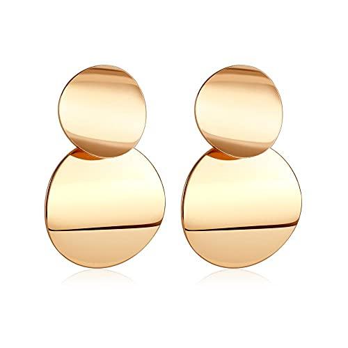 OMYLFQ Pendientes Golden Big Hoop Pendientes Geometría Coreana Metal Pendientes de Oro para Las Mujeres Pendientes de Gota Retro Hembra 2021 Trend Joyas de Moda aretes (Color : 3)