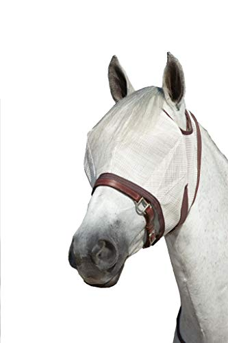 Kensington Natural Fly Mask with Web Trim — Protects Horses Face Eyes from Biting Insects and UV Rays While Allowing Full Visibility — Ears and Forelock Able to Come Through The Mask