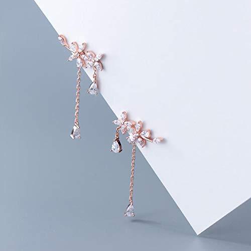 yqs Pendientes Borla Flor Cristal 925 Pendientes de Plata para Las Mujeres Inusual joyería Gota Pendientes Rosegold