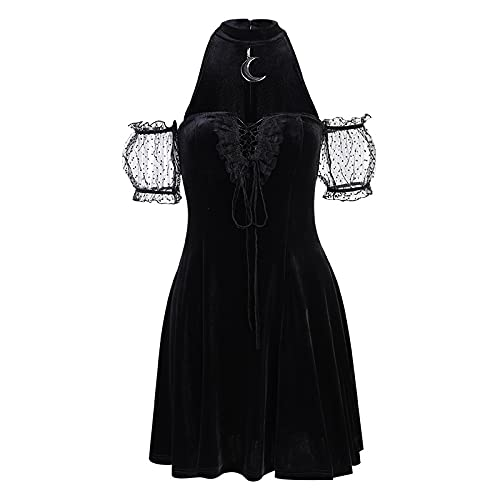 Vestidos de Mujer Vestido Goth Aesthetic Moon Halter Vestidos Negros Gótico Sexy...