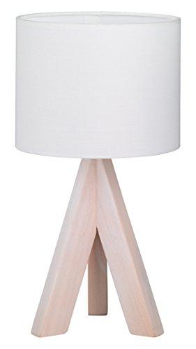 Reality Leuchten Tischleuchte, Fuss dreibein Holz, Stoffschirm, 1x E14, 40 W, Höhe 31 cm, weiß R50741001