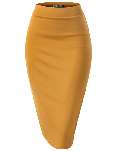 TWINTH Women's Stretch Knit Midi Bodycon Pencil Skirt for Work Party Turmeric L
