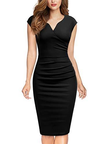 MIUSOL Damen Elegant Etuikleid Sommer Kleid V-Ausschnitt Caparm Vintage Businesskleid Cocktailkleider Schwarz XL