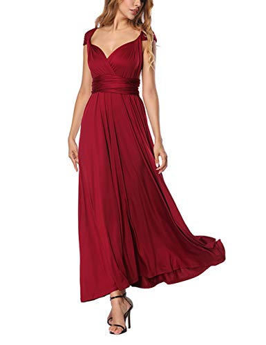 FeelinGirl Vestido de Noche Falda Larga Fiesta Elegante Multi-Manera para Mujer Rojo S/Talla 36-38