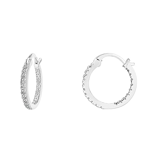 PAVOI 14K Gold Plated 925 Sterling Silver Post Cubic Zirconia Hoop Earrings   Small White Gold Hoops