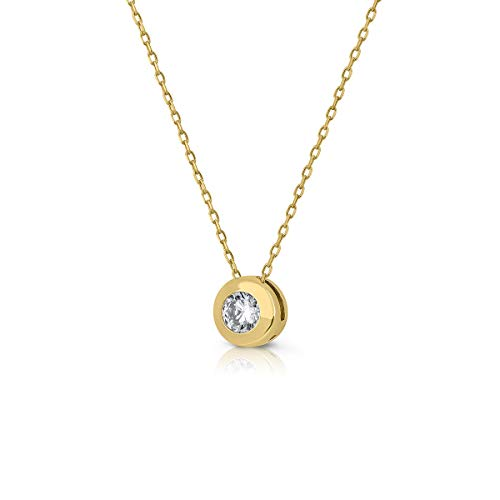 ROSA DI MANUEL Gargantilla Collar, Oro 18k Mujer o niña, con Cadena de 45 cm de Largo máximo, Medida del diseño Central 6 mm con circón engastada.