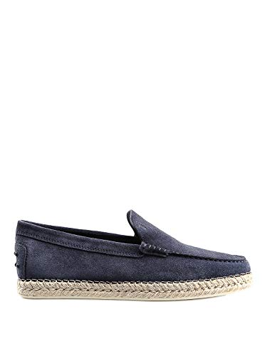 TOD'S Espadrilles style blue suede loafers