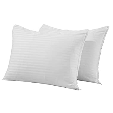 King Set of 2 Premium Zippered Pillow Protectors Covers 200 300 Thread Count White Cotton Sateen Hypoallergenic Pillow Cases Hotel Quality Set of 2 Encasements