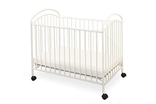 LA Baby Classic Arched Compact Size Metal Non-Folding Crib, White