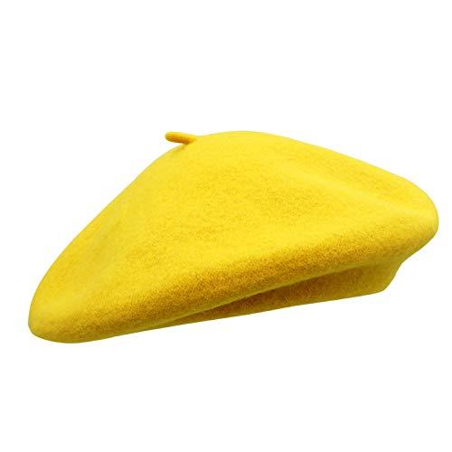 Umeepar Damen Wolle Französischen Baskenmütze (Gelb)