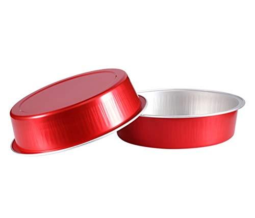 KEISEN 4 2/3' mini Disposable Aluminum Foil Cups 215ml for Muffin Cupcake Baking Bake Utility Ramekin Cup 24/PK (Red)