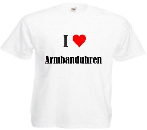 Camiseta I Love relojes de pulsera para mujer, hombre y niños en los colores negro, blanco y rosa. Blanco XXX-Large