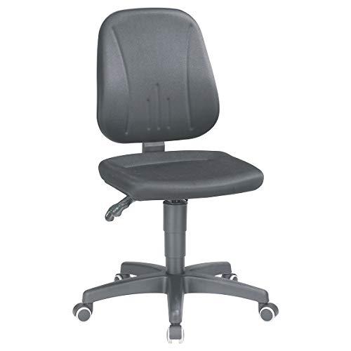 bimos Arbeitsdrehstuhl mit Gasfeder-Höhenverstellung - Stoffbezug - schwarz, mit Rollen - Arbeitsdrehstuhl Arbeitsstuhl Drehstuhl Stuhl Universalstuhl