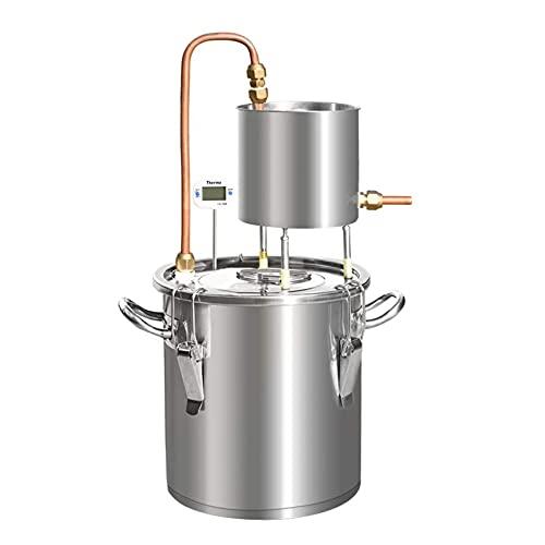 Moonshine Destilador De Alcohol Sin Alcohol Caldera Para Elaboración De Vino Con Termómetro Acero Inoxidable 304 (12L)