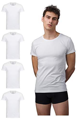 Burnell & Son Business Unterhemd mit Kurzarm und Rundhals für Herren aus atmungsaktiver Baumwolle, Slim Fit 4er Pack, Weiß, XL
