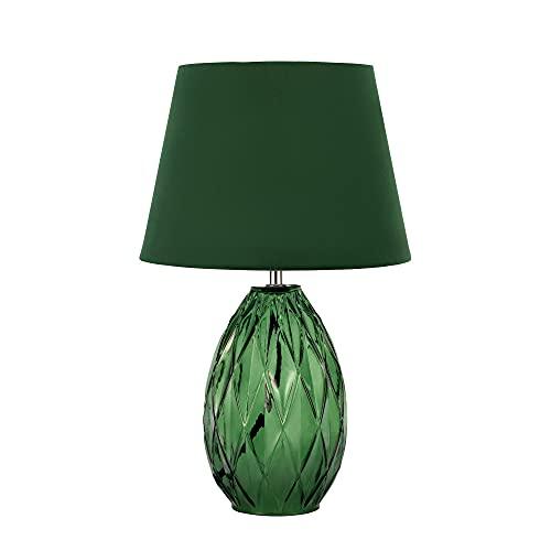 Pauleen 48156 luminaria de sobremesa Crystal Velvet, Pantalla Aterciopelada, lámpara Verde, máx. 40 W E14 230 V Vidrio/Tela