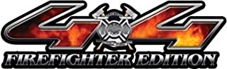Firefighter Edition 4x4 Decal with Real Fire for your Chevy, Ford, Dodge, Toyota, Nissan or Honda - 3.75