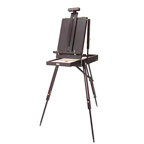 """SoHo Urban Artist Lightweight French Style Studio Easel with Sketchbox & 12"""" Drawer - 30% Lighter Than Other Portable Plein Air Field Easels Adjustable Tripod Stand for Painting, Sketching, Display"""