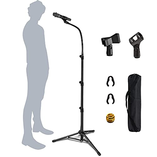 Mic Stand Boom Microphone Stands Tripod Gooseneck mic arm stand Height Adjustable 3'-...