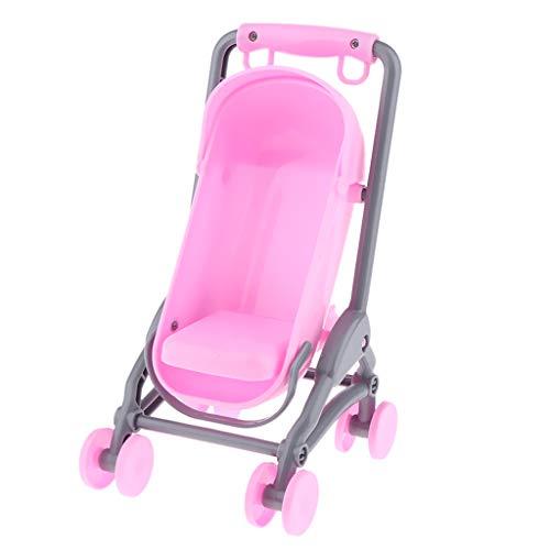 FLAMEER 1 Stück Mini Pink Kinderwagen Babywagen Puppenhausmöbel für Puppenstube Babyzimmer Dekoration