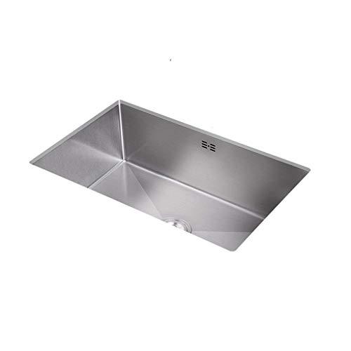 Práctico Debajo del fregadero rectangular de acero inoxidable, 1 tazón con orificio de desbordamiento, juego de sifón (tamaño: 420 mm x 350 mm)