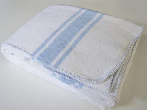 Lanovenanube - Manta Mallorquina Algodón 140x200 -Blanca/Raya Azul