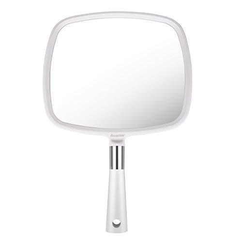 Auxmir Handspiegel mit griff Friseursalon Kosmetikspiegel Schminkspiegel für Make-up, Haare Schneiden, Rasieren Salon Gesichtspflege, Weiß