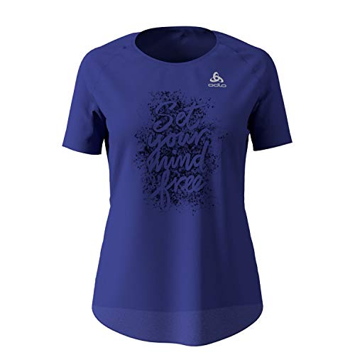 Odlo Millennium Element T-Shirt Femme Clematis Blue Mélange/Placed Print FR : M (Taille Fabricant : M)