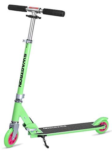 "K1 Girl or Boy Kick Scooter 2 Wheel Adjustable 40"" Kids up to 72"" Teens, 220Lb Weight Limit, ABEC-9 Bearings, Lightweight 6.42Lbs, Next Gen Fold-n-Lock System + Kickstand (Blue/Silver)"