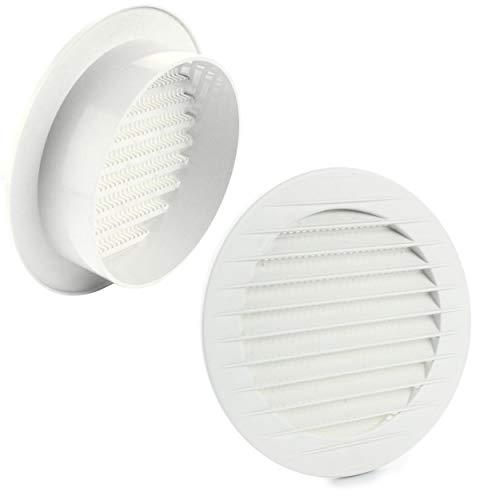 MKK - 17969 - Lüftungsgitter Abluftgitter Außengitter Insektenschutz weiß grau braun 60 70 80 90 100 120 125 150 mm weiß Ø 80 mm