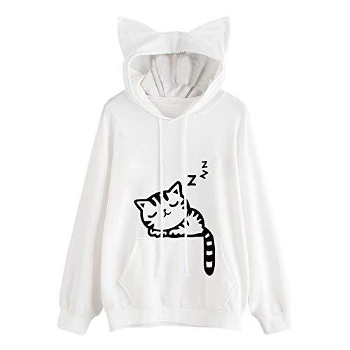 Auifor vrouwen kat lange mouwen hoodie sweatshirt met capuchon schattig casual wilde pullover tops blouse