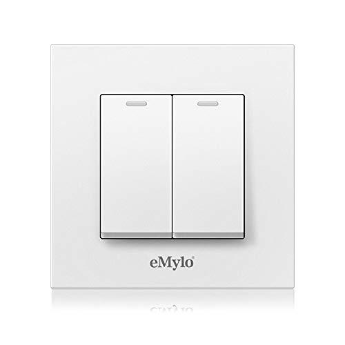 Owfeel Wandschalter Wandleuchte Taster Schalter Panel On/Off-Schalter inkl. Rahmen Unterputz Für Zuhause Wohnzimmer Schlafzimmer (2 Gänge)